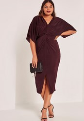 Missguided Purple Plus Size Slinky Kimono Midi Dress Plum