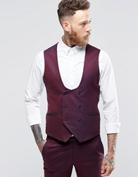 Noose And Monkey Super Skinny Db Waistcoat Burgundy Red