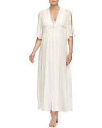 Jonquil Elena Embroidered Lace Long Robe Ivory