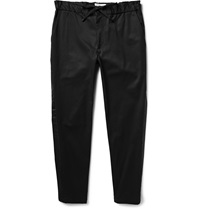 Zipped Cuff Tapered Cotton Blend Twill Trousers Black