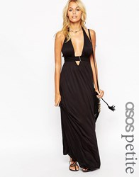 Asos Petite Jersey Ruched Halter Maxi Beach Dress Black