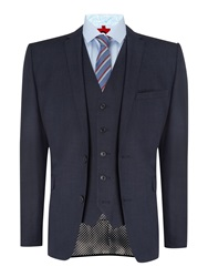 Lambretta Plain Notch Collar Tailored Fit Suit Blue