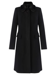 Jigsaw Modern Wool Faux Fur Collar Coat Black