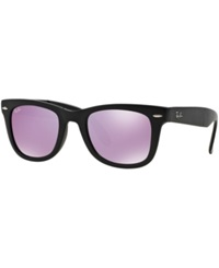 Ray Ban Sunglasses Ray Ban Rb4105 50 Folding Wayfarer Black Matt Purple Mirror