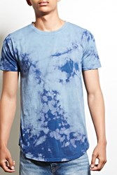 Forever 21 Entity Bleach Dye Cotton Tee Blue