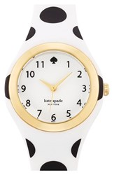 Women's Kate Spade New York 'Rumsey' Plastic Strap Watch 30Mm White Black Polka Dot