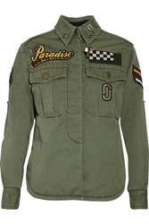 Marc Jacobs Embellished Cotton Canvas Jacket Green