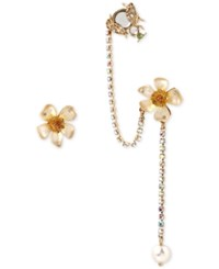 Betsey Johnson Gold Tone Flower And Bug Crystal Ear Cuff Set
