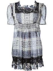 Fay Ruffled Square Neck Dress Blue