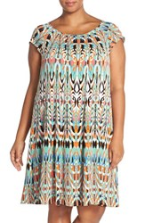 Plus Size Women's Gabby Skye Print Jersey Shift Dress