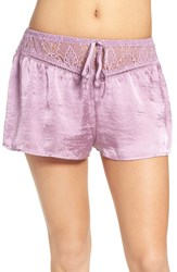 Band Of Gypsies Women's Lace Waist Satin Shorts Y9m Lavender