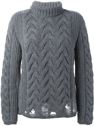 Aries Cable Knit Sweater Grey