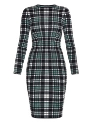 Alexander Mcqueen Engineered Tartan Check Wool Pencil Dress