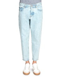 Ami Alexandre Mattiussi Ami Acid Wash Tapered Leg Denim Jeans Light Blue