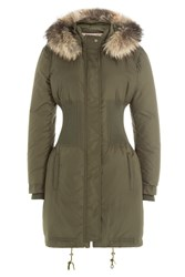 Roberto Cavalli Army Style Parka With Fur Collar Green