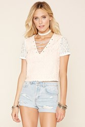 Forever 21 Crisscross Front Lace Top