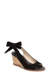 Women's Bettye Muller 'Playlist' Tie Slingback Wedge Sandal Black Suede