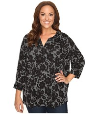 Nydj Plus Size 3 4 Sleeve Knit Henley Top Mod Floral Black Women's Clothing