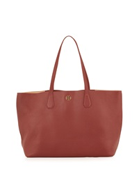 Perry Leather Tote Bag Deep Berry Tea