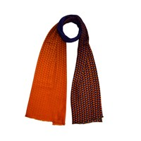 Kope London Golden Triangle Cashmere Scarf Blue Gold Yellow