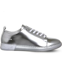 Pantone Nyc Metallic Leather Trainers Silver Leather