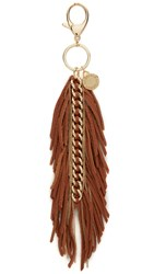 Rebecca Minkoff Feather Chain Key Fob Almond Light Gold