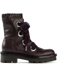 Alexander Mcqueen Lace Up Boots Pink And Purple