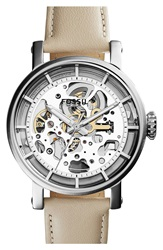 Fossil 'Original Boyfriend' Skeleton Dial Leather Strap Watch 38Mm White Silver