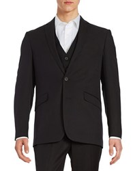 Kenneth Cole Reaction Two Button Jacket Black Patent