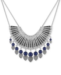 Lucky Brand Silver Tone Ornamental Blue Stone And Dark Pave Statement Necklace