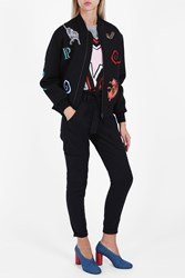Paul And Joe Embroidered Cat Bomber Jacket Black