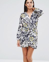 Love Long Sleeve Wrap Dress Nude Floral Beige