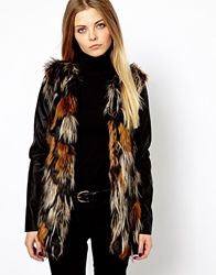 Vero Moda Mixed Colour Faux Fur With Leather Look Sleeve Black
