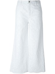 Ermanno Scervino High Waisted Perforated Detailing Trousers White