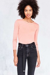 Silence And Noise Astrid Long Sleeve Shirttail Tee Peach