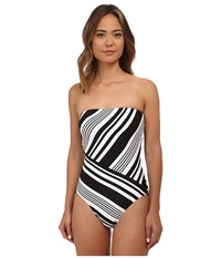 Lauren Ralph Lauren Marina Stripe Strapless One Piece W Soft Cup And Sport Logo Plate Black Women's Swimsuits One Piece