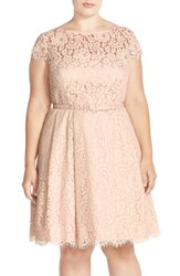 Plus Size Women's Eliza J Lace Fit And Flare Dress Ivory