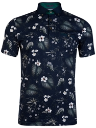 Ted Baker T For Tall Hitchen Floral Print Polo Shirt Navy
