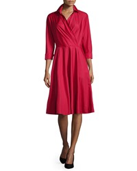 Max Mara 3 4 Sleeve Wrap Front A Line Shirtdress Red Size 12 Navy
