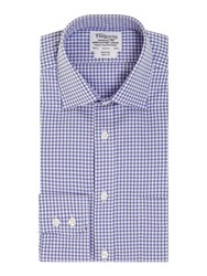 T.M.Lewin Gingham Check Slim Fit Long Sleeve Formal Shirt Royal Blue