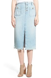 Women's 7 For All Mankind Cutoff Denim Midi Skirt Cool Cloudy Blue