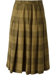 Jean Louis Scherrer Vintage Check Skirt Brown