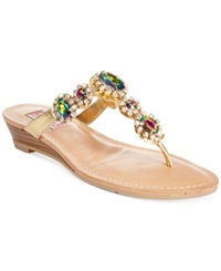 Dolce By Mojo Moxy Fairytail Gemstone Wedge Thong Sandals Women's Shoes