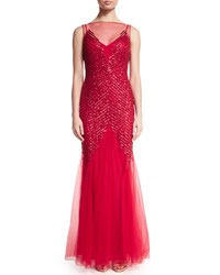 Mignon Sleeveless Embellished Gown Red