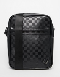 Fred Perry Cross Body Bag With Checker Board Print Black