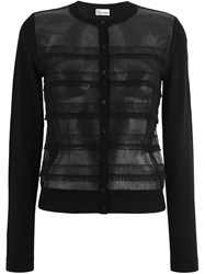 Red Valentino Sheer Panel Cardigan Black