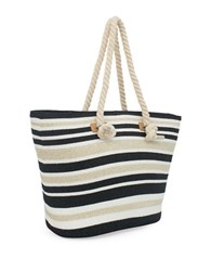 Magid Striped Natural Paper Straw Tote Black Metallic