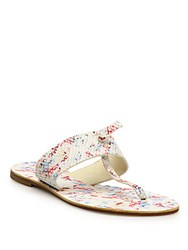 Joie Nice Floral Print Leather Thong Sandals White Multi