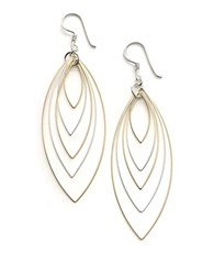 Lord And Taylor Sterling Silver Orbital Wire Earrings Two Tone