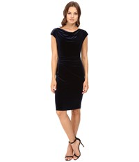 Vince Camuto Drape Neck Sheath With Side Tucks Navy Women's Dress